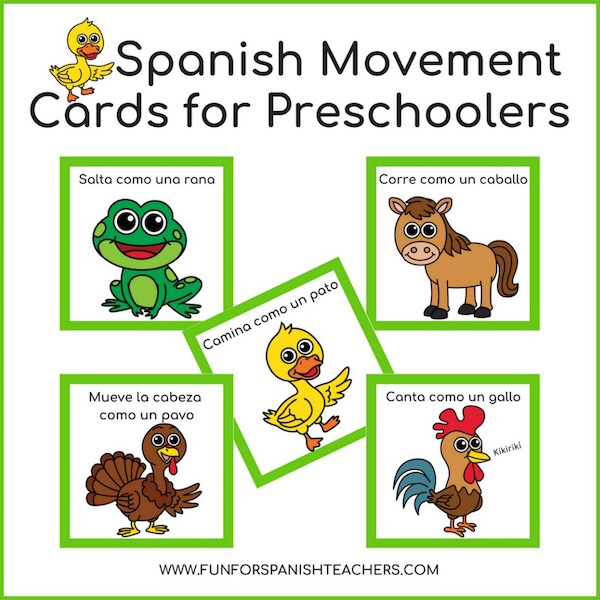 Spanish movement cards with animals and common verbs add activity to language learning.