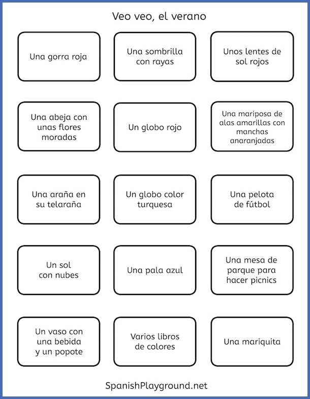 Print these cards to play the Spanish I Spy reading game.
