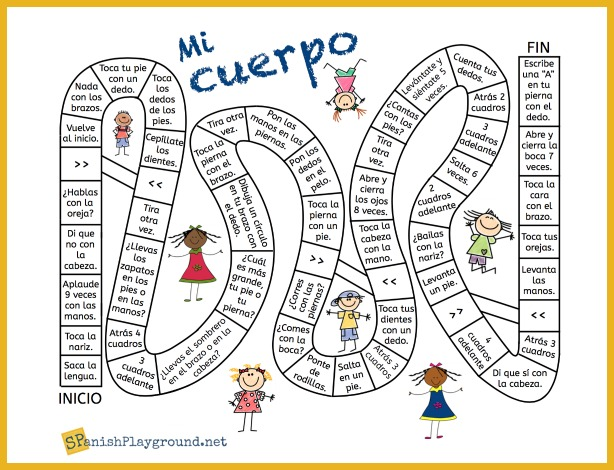 A board game to learn body parts in Spanish.