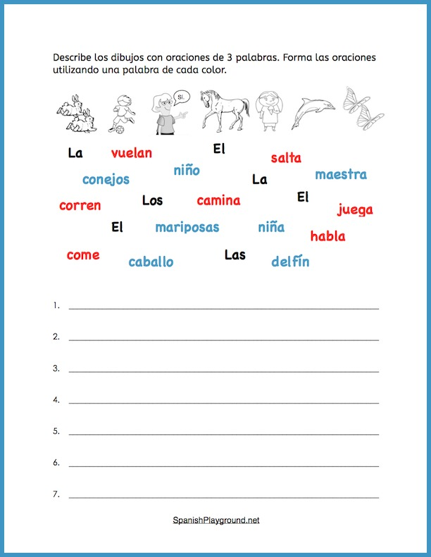 Use this Spanish sentence building activity with pictures with elementary language classes.