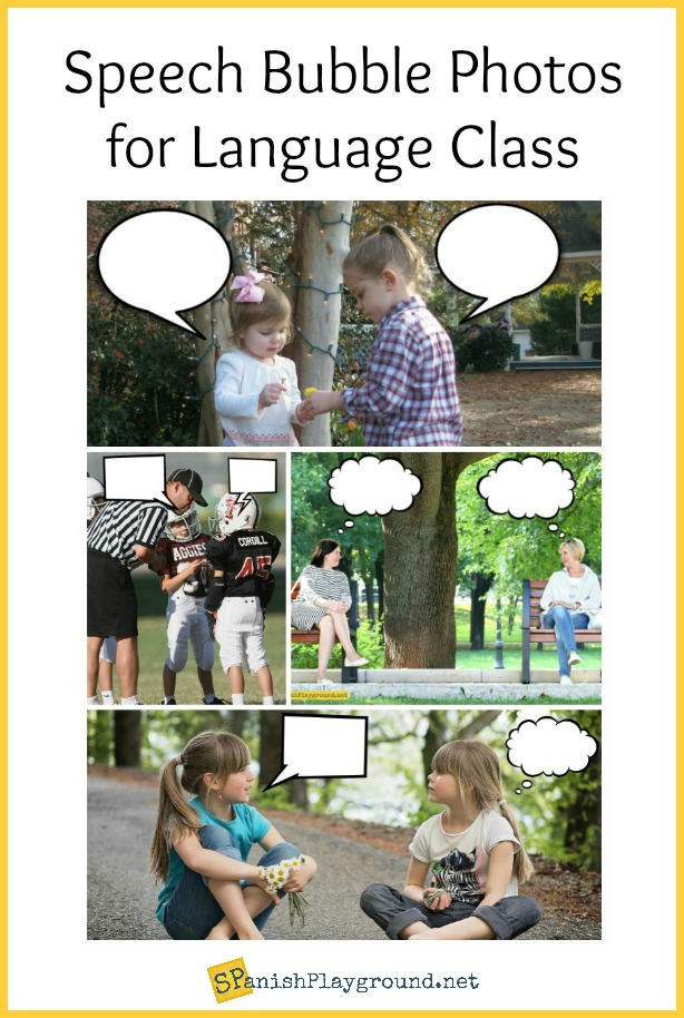 Speech bubble photos engage students with Spanish conversation.