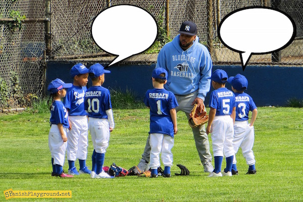 Photos with speech bubbles are an easy way to engage kids with Spanish.