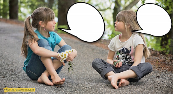 Speech bubble photos can be used to practice information questions.