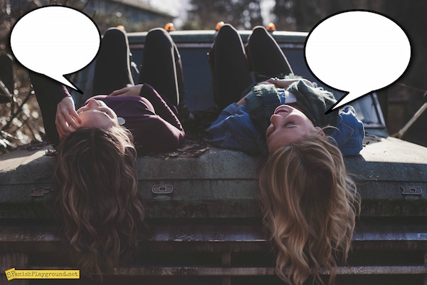 Use speech bubble photos to work with theme vocabulary.