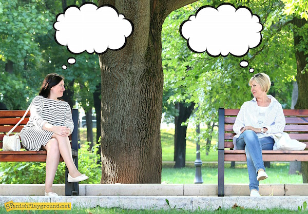 Thought and speech bubbles on photos let students practice common verbs.