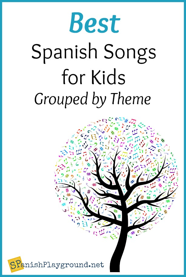 Spanish songs for kids teach vocabulary related to elementary themes.
