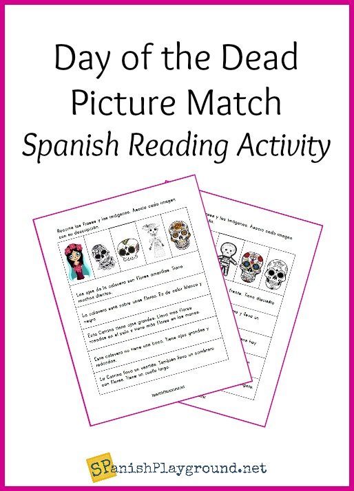 This Day of the Dead Spanish reading activity ties in to Día de los muertos as kids practice language skills.