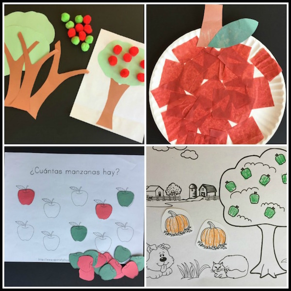 Crafts are apple activities in Spanish that help reinforce key vocabulary.