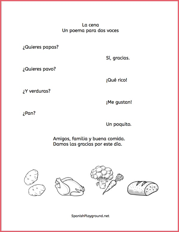 Students learn vocabulary as they recite and act out these Spanish Thanksgiving poems.