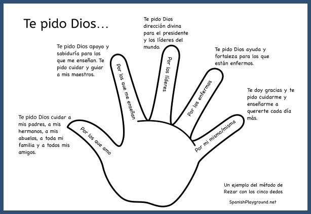 Teach these Spanish prayers for kids for mealtime and bedtime.