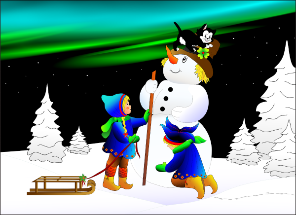 Use this scene with a snowman to play Spanish winter vocabulary games.