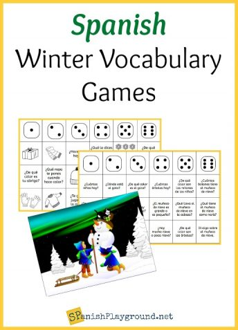 Two Spanish winter vocabulary games to play with dice and printable game boards.