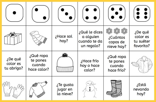 Play these Spanish winter vocabulary games to review weather words.