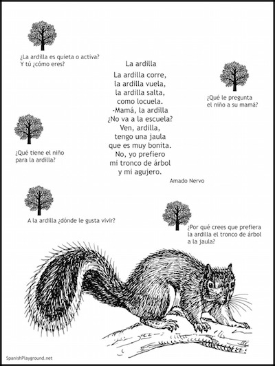 Spanish poems for kids teach animal words.