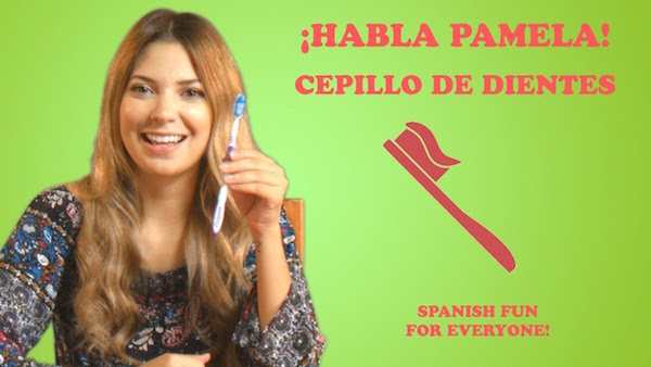 This video about a toothbrush has easy words so kids learn Spanish in context.