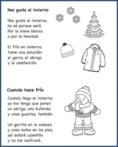 These Spanish poems for kids teach winter vocabulary.