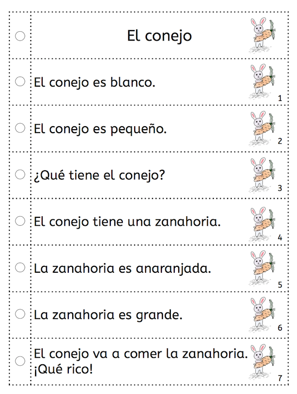 Spanish sentence strips build reading fluency.