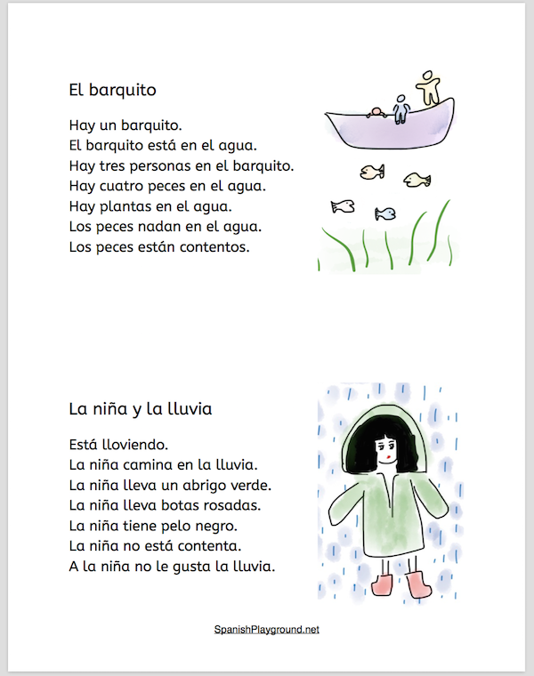Spanish sentences strips with pictures support early readers.