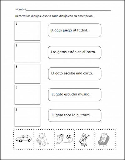 This picture match gives kids practice with ten common Spanish verbs.