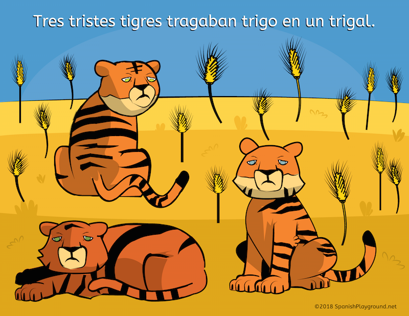 Make Spanish tongue twisters meaningful by using pictures and questions.