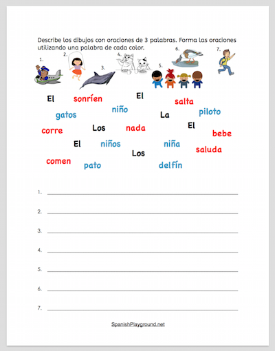 Use this activity to build Spanish sentences with three words.