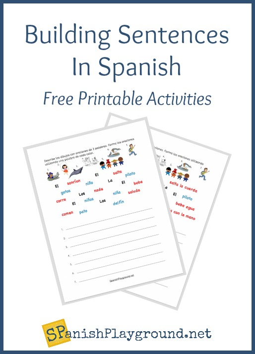 Use these printable activities to build Spanish sentences with beginning learners.