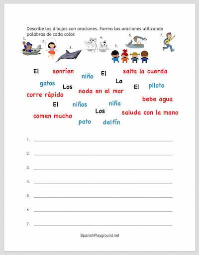 Use this activity to build Spanish sentences with prepositional phrases.