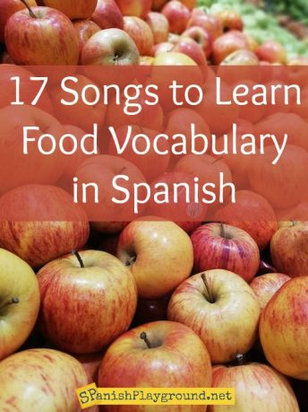 Spanish food songs teach vocabulary about fruit, vegetables, mealtime and healthy eating.