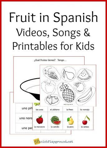 Songs, videos and printable activities help kids learn fruit in Spanish.