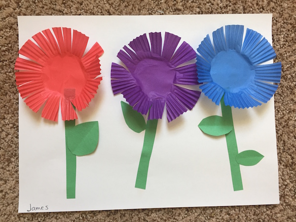 Cupcake liner flowers are a quick and easy craft.