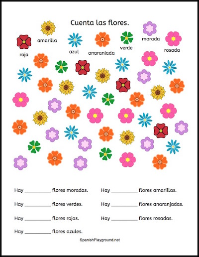A printable page with flowers to count and record.