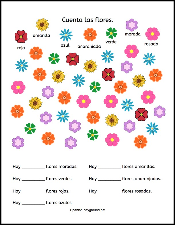 Kids learn Spanish colors with this printable counting activity.