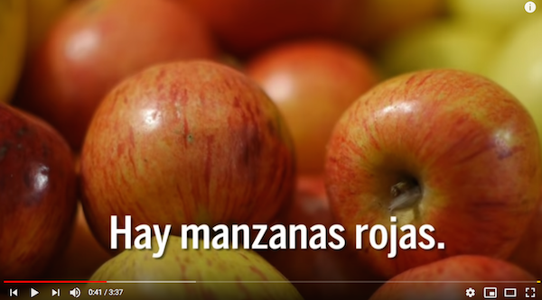Children learn Spanish words for fruit with this video.