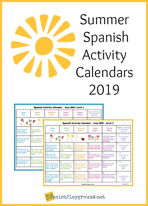 Use this summer activity calendar for 2019 to engage kids with Spanish.