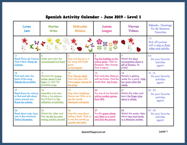 A variety of activities to use during June 2019 with Spanish learners.