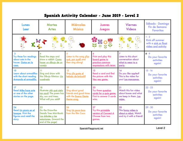 Activities for kids to practice Spanish during summer 2019.