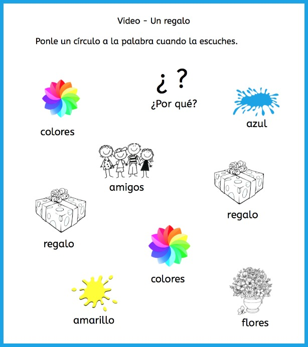 Listening comprehension activities for a thank you in Spanish video.