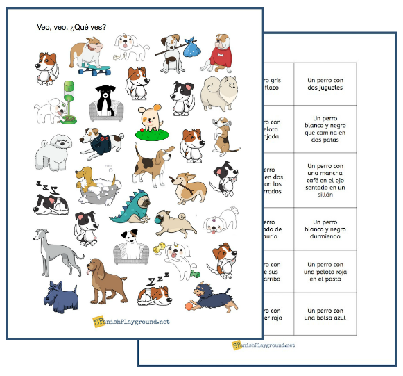 This game in Spanish has pictures of dogs and cards with descriptions.