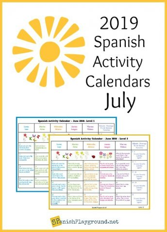 Activity calendars in Spanish at two levels to practice language skills.