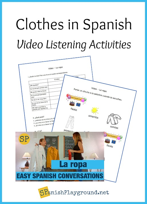 Listening activities for a video to learn clothes in Spanish