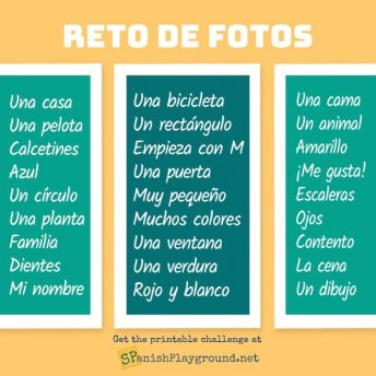 Use this photo challenge in Spanish to engage kids with language.