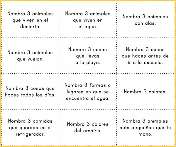 Use these category cards to play printable Spanish board games.