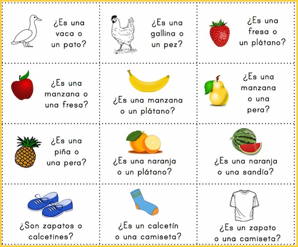 Choice questions with images to use with printable Spanish board games.