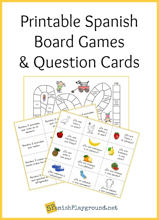 graphic regarding Printable Board Games called Printable Spanish Board Video games and Surprise Playing cards - Spanish