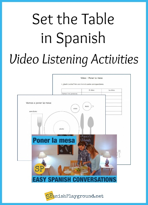 Listening activities for a video about setting the tabel in Spanish.