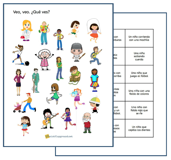 Use these I Spy Spanish reading games with beginning language learners.