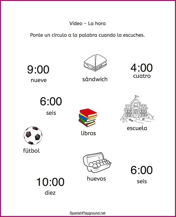 Use these listening activities to practice time in Spanish with a short video.