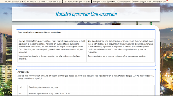 Aprender y Preparar has simulated conversations in the format of the AP exam.