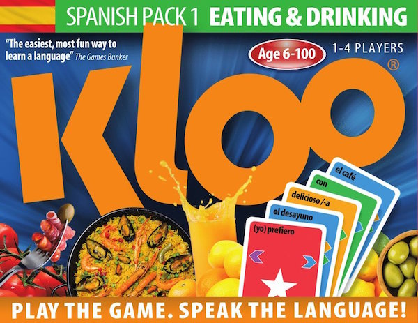Spanish board games like Kloo help learn vocabulary and sentence structure.