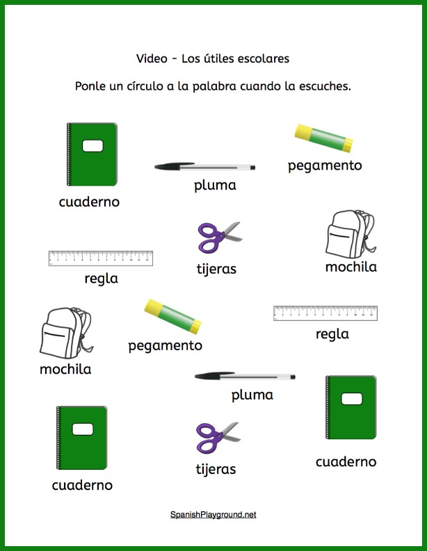 Use the video to do these school supplies in Spanish listening activities.